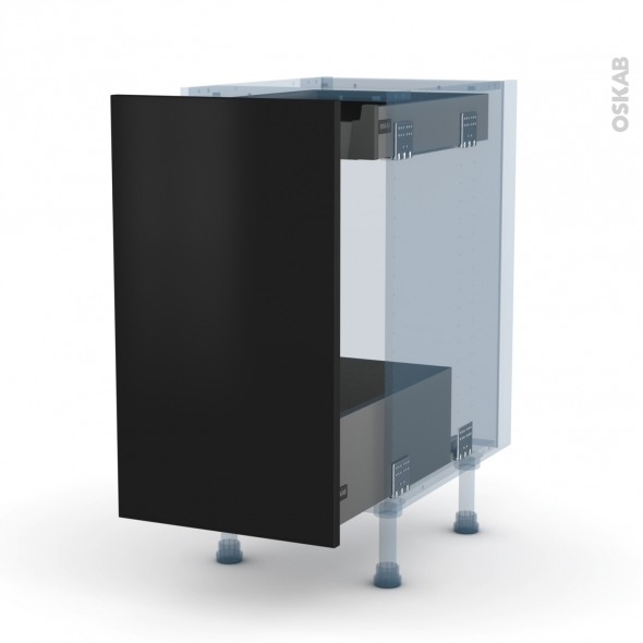 GINKO Noir - Kit Rénovation 18 - Meuble bas coulissant  - 1 porte-1 tiroir anglaise - L40xH70xP60