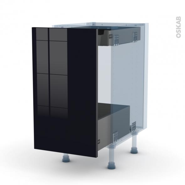 KERIA Noir - Kit Rénovation 18 - Meuble bas coulissant  - 1 porte-1 tiroir anglaise - L40xH70xP60