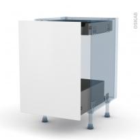 GINKO Blanc - Kit Rénovation 18 - Meuble bas coulissant - 1 porte - 1 tiroir anglaise - L50xH70xP60