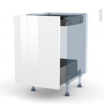 STECIA Blanc - Kit Rénovation 18 - Meuble bas coulissant  - 1 porte -1 tiroir anglaise - L50xH70xP60