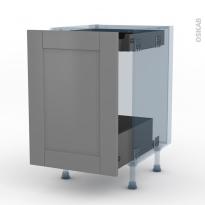 FILIPEN Gris - Kit Rénovation 18 - Meuble bas coulissant  - 1 porte -1 tiroir anglaise - L50xH70xP60