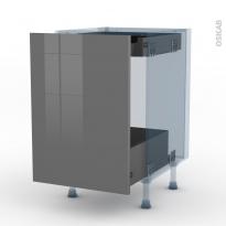 STECIA Gris - Kit Rénovation 18 - Meuble bas coulissant  - 1 porte -1 tiroir anglaise - L50xH70xP60
