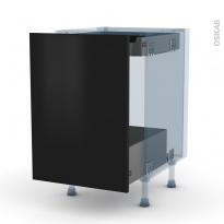 GINKO Noir - Kit Rénovation 18 - Meuble bas coulissant  - 1 porte -1 tiroir anglaise - L50xH70xP60