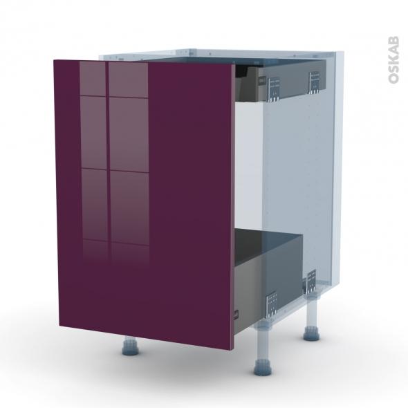 KERIA Aubergine - Kit Rénovation 18 - Meuble bas coulissant  - 1 porte -1 tiroir anglaise - L50xH70xP60