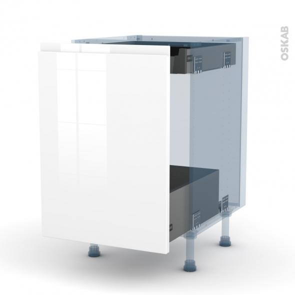 IPOMA Blanc - Kit Rénovation 18 - Meuble bas coulissant  - 1 porte -1 tiroir anglaise - L50xH70xP60