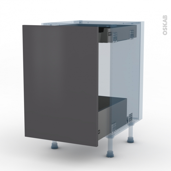GINKO Gris - Kit Rénovation 18 - Meuble bas coulissant  - 1 porte -1 tiroir anglaise - L50xH70xP60