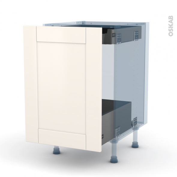 FILIPEN Ivoire - Kit Rénovation 18 - Meuble bas coulissant  - 1 porte -1 tiroir anglaise - L50xH70xP60