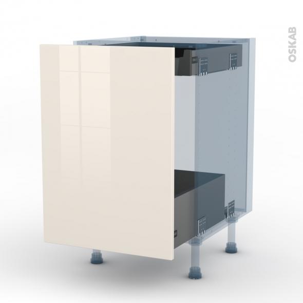 KERIA Ivoire - Kit Rénovation 18 - Meuble bas coulissant  - 1 porte -1 tiroir anglaise - L50xH70xP60