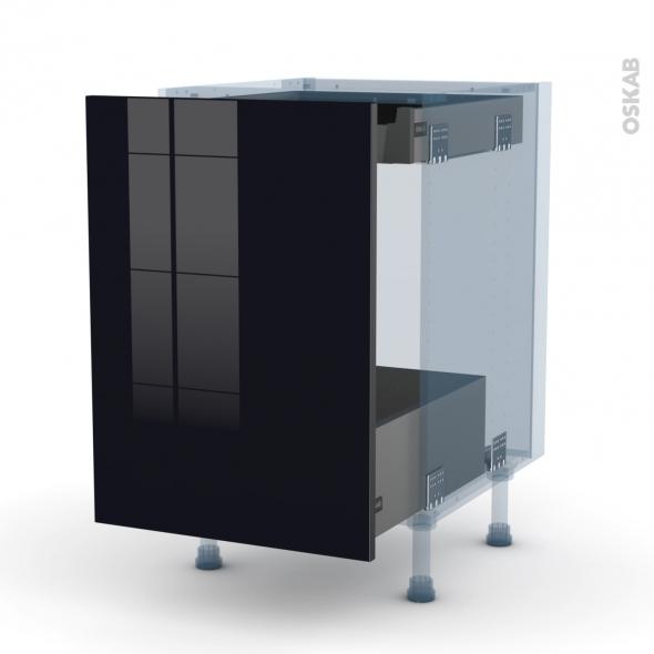KERIA Noir - Kit Rénovation 18 - Meuble bas coulissant  - 1 porte -1 tiroir anglaise - L50xH70xP60