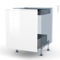 IPOMA Blanc - Kit Rénovation 18 - Meuble bas coulissant  - 1 porte -1 tiroir anglaise - L60xH70xP60