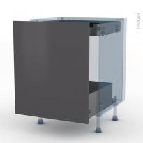GINKO Gris - Kit Rénovation 18 - Meuble bas coulissant  - 1 porte -1 tiroir anglaise - L60xH70xP60