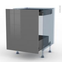 STECIA Gris - Kit Rénovation 18 - Meuble bas coulissant  - 1 porte -1 tiroir anglaise - L60xH70xP60
