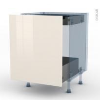 KERIA Ivoire - Kit Rénovation 18 - Meuble bas coulissant  - 1 porte -1 tiroir anglaise - L60xH70xP60