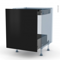 GINKO Noir - Kit Rénovation 18 - Meuble bas coulissant  - 1 porte -1 tiroir anglaise - L60xH70xP60