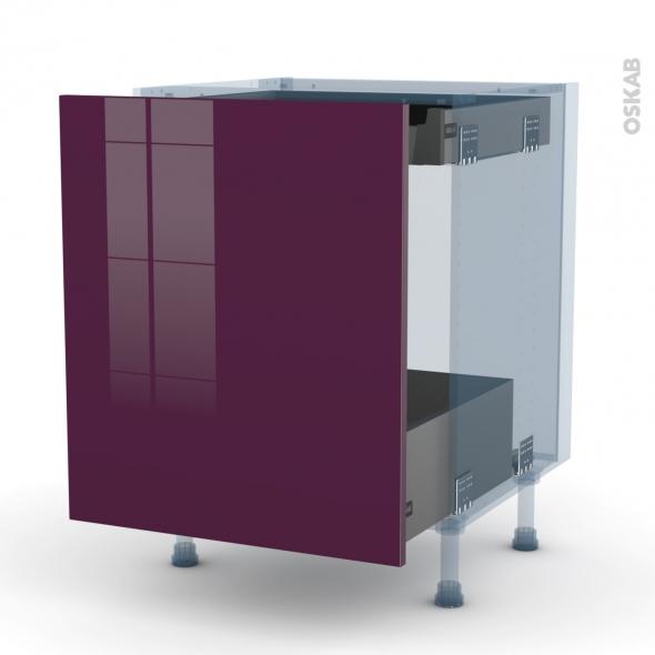 KERIA Aubergine - Kit Rénovation 18 - Meuble bas coulissant  - 1 porte -1 tiroir anglaise - L60xH70xP60
