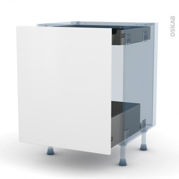 GINKO Blanc - Kit Rénovation 18 - Meuble bas coulissant - 1 porte - 1 tiroir anglaise - L60xH70xP60