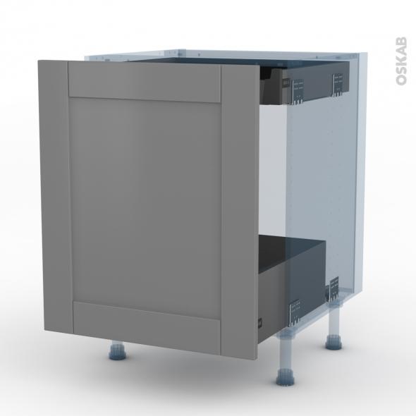 FILIPEN Gris - Kit Rénovation 18 - Meuble bas coulissant  - 1 porte -1 tiroir anglaise - L60xH70xP60
