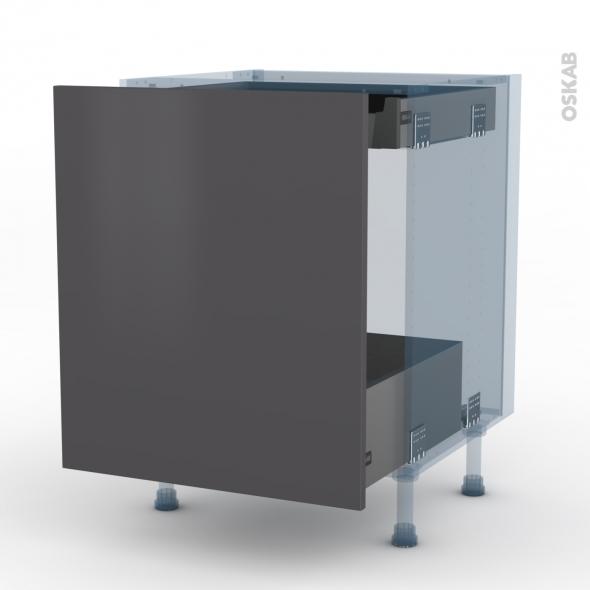 ginko gris kit r novation 18 meuble bas coulissant 1 porte 1 tiroir anglaise l60xh70xp60 oskab. Black Bedroom Furniture Sets. Home Design Ideas