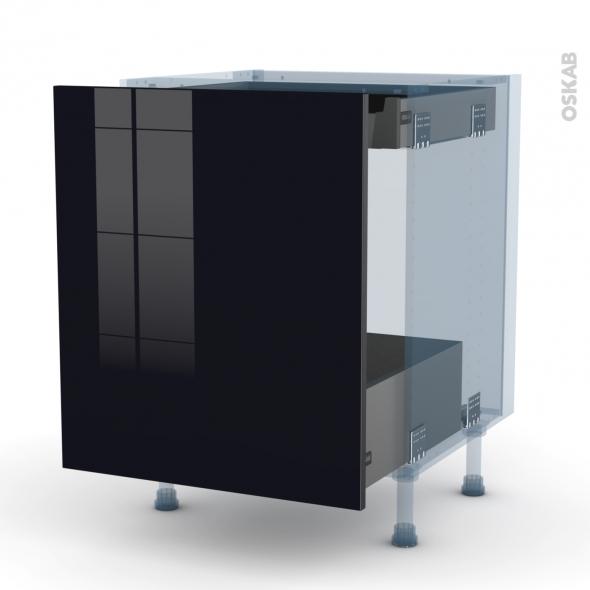KERIA Noir - Kit Rénovation 18 - Meuble bas coulissant  - 1 porte -1 tiroir anglaise - L60xH70xP60