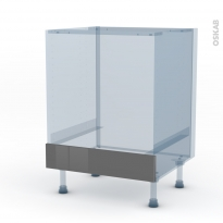 STECIA Gris - Kit Rénovation 18 - Meuble bas four  - bandeau bas - L60xH70xP60