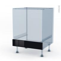 KERIA Noir - Kit Rénovation 18 - Meuble bas four  - bandeau bas - L60xH70xP60