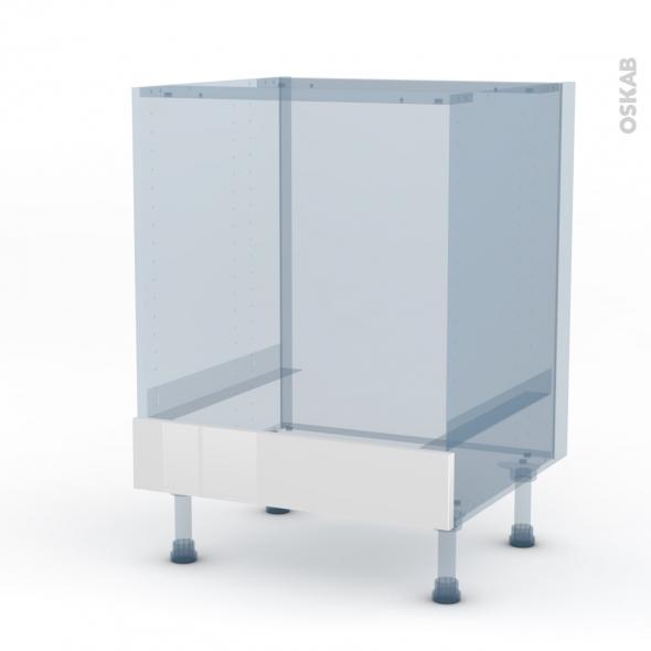 STECIA Blanc - Kit Rénovation 18 - Meuble bas four  - bandeau bas - L60xH70xP60