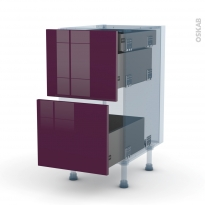 KERIA Aubergine - Kit Rénovation 18 - Meuble casserolier - 2 tiroirs-1 tiroir anglaise - L40xH70xP60