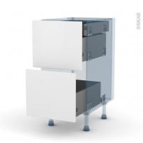 GINKO Blanc - Kit Rénovation 18 - Meuble casserolier - 2 tiroirs - 1 tiroir à l'anglaise - L40xH70xP60