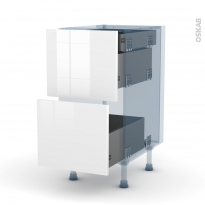 STECIA Blanc - Kit Rénovation 18 - Meuble casserolier - 2 tiroirs-1 tiroir anglaise - L40xH70xP60
