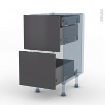 GINKO Gris - Kit Rénovation 18 - Meuble casserolier - 2 tiroirs-1 tiroir anglaise - L40xH70xP60