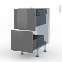 STECIA Gris - Kit Rénovation 18 - Meuble casserolier - 2 tiroirs-1 tiroir anglaise - L40xH70xP60