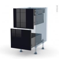 KERIA Noir - Kit Rénovation 18 - Meuble casserolier - 2 tiroirs-1 tiroir anglaise - L40xH70xP60