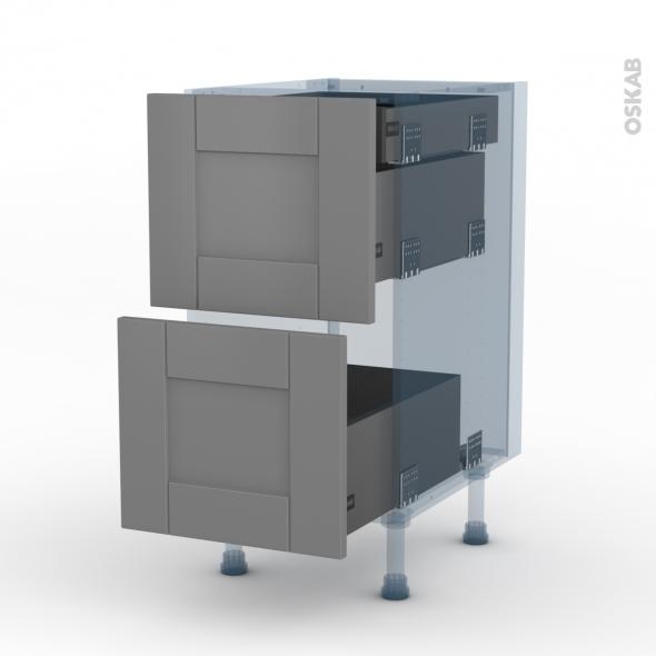 FILIPEN Gris - Kit Rénovation 18 - Meuble casserolier - 2 tiroirs-1 tiroir anglaise - L40xH70xP60