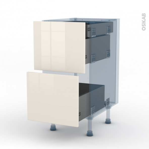 KERIA Ivoire - Kit Rénovation 18 - Meuble casserolier - 2 tiroirs-1 tiroir anglaise - L40xH70xP60