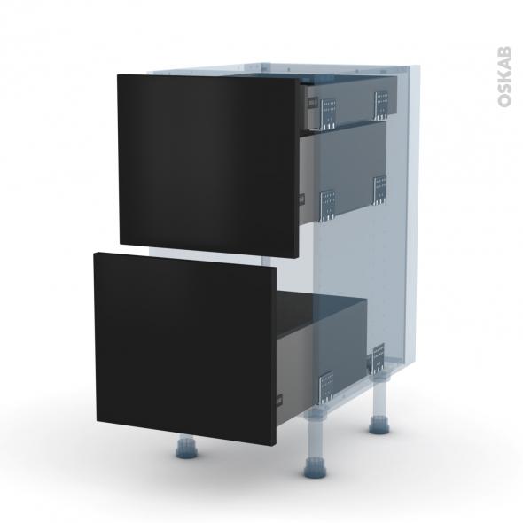 GINKO Noir - Kit Rénovation 18 - Meuble casserolier - 2 tiroirs-1 tiroir anglaise - L40xH70xP60