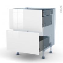 STECIA Blanc - Kit Rénovation 18 - Meuble casserolier - 2 tiroirs-1 tiroir anglaise - L60xH70xP60
