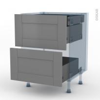 FILIPEN Gris - Kit Rénovation 18 - Meuble casserolier - 2 tiroirs-1 tiroir anglaise - L60xH70xP60