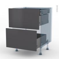 GINKO Gris - Kit Rénovation 18 - Meuble casserolier - 2 tiroirs-1 tiroir anglaise - L60xH70xP60