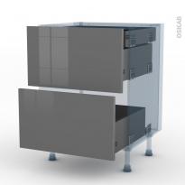 STECIA Gris - Kit Rénovation 18 - Meuble casserolier - 2 tiroirs-1 tiroir anglaise - L60xH70xP60