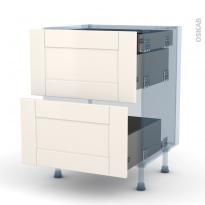 FILIPEN Ivoire - Kit Rénovation 18 - Meuble casserolier - 2 tiroirs-1 tiroir anglaise - L60xH70xP60