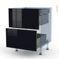KERIA Noir - Kit Rénovation 18 - Meuble casserolier - 2 tiroirs-1 tiroir anglaise - L60xH70xP60