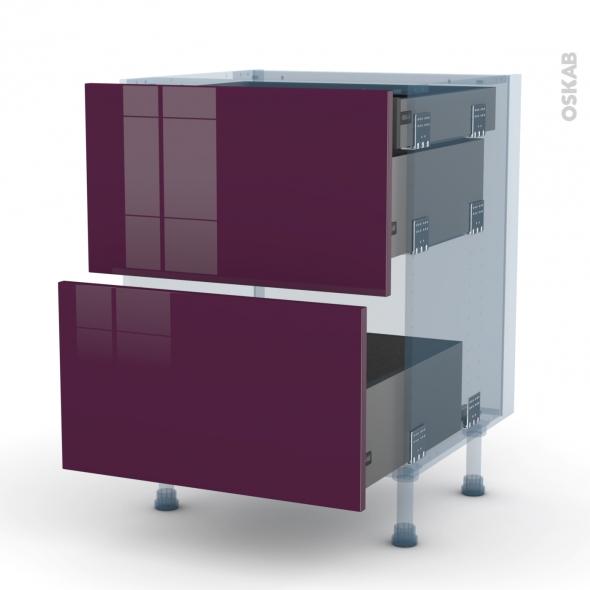 KERIA Aubergine - Kit Rénovation 18 - Meuble casserolier - 2 tiroirs-1 tiroir anglaise - L60xH70xP60