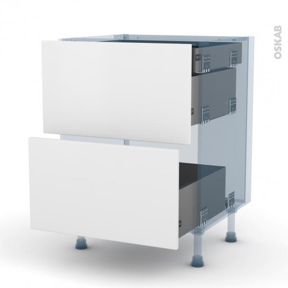 GINKO Blanc - Kit Rénovation 18 - Meuble casserolier - 2 tiroirs - 1 tiroir à l'anglaise - L60xH70xP60