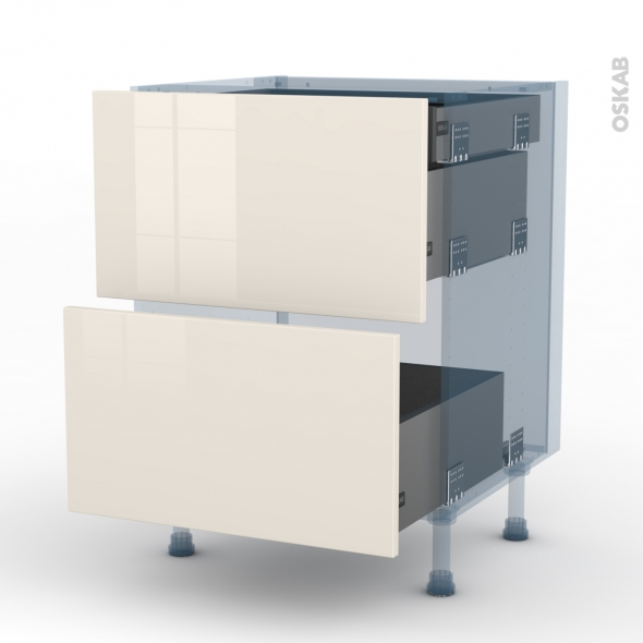 KERIA Ivoire - Kit Rénovation 18 - Meuble casserolier - 2 tiroirs-1 tiroir anglaise - L60xH70xP60