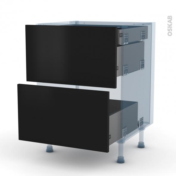 GINKO Noir - Kit Rénovation 18 - Meuble casserolier - 2 tiroirs-1 tiroir anglaise - L60xH70xP60