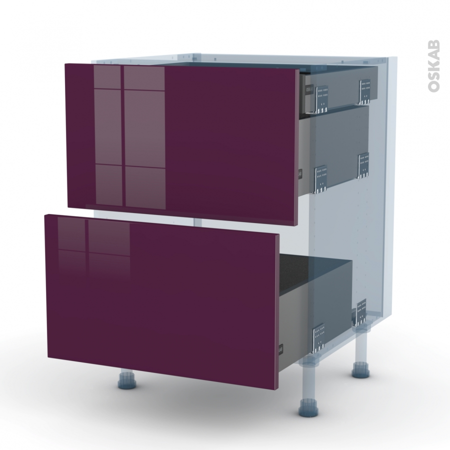 Keria aubergine kit r novation 18 meuble casserolier 2 for Meuble cuisine 90 x 60