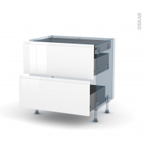 IPOMA Blanc - Kit Rénovation 18 - Meuble casserolier - 2 tiroirs - 1 tiroir anglaise - L80xH70xP60