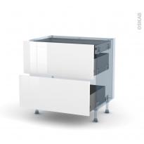 STECIA Blanc - Kit Rénovation 18 - Meuble casserolier - 2 tiroirs - 1 tiroir anglaise - L80xH70xP60