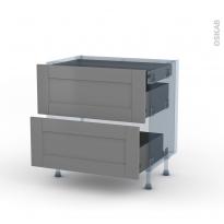 FILIPEN Gris - Kit Rénovation 18 - Meuble casserolier - 2 tiroirs - 1 tiroir anglaise - L80xH70xP60