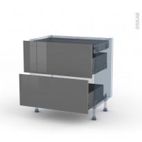 STECIA Gris - Kit Rénovation 18 - Meuble casserolier - 2 tiroirs - 1 tiroir anglaise - L80xH70xP60